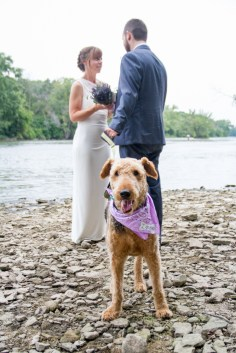 River wedding vows bride groom dog