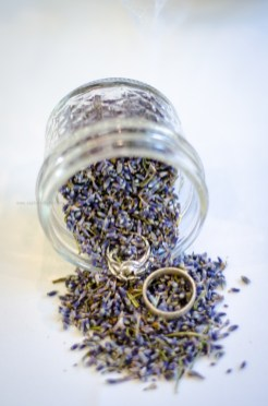 Wedding rings lavender jar