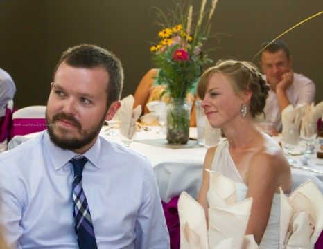 Bride and groom toast reaction