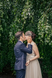 Morton Arboretum Wedding, Bride and groom kiss