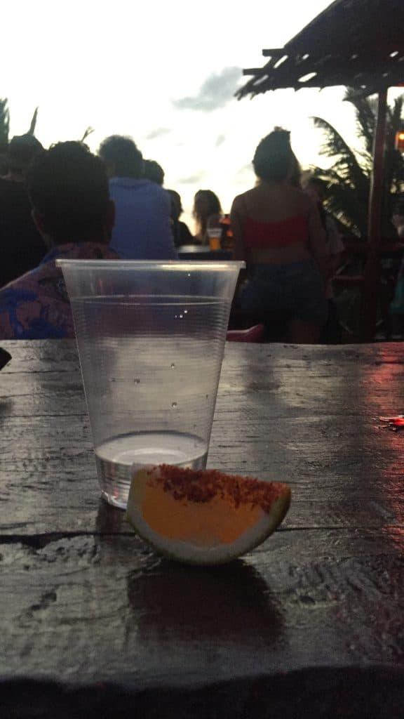 Shot of mezcal in Tulum