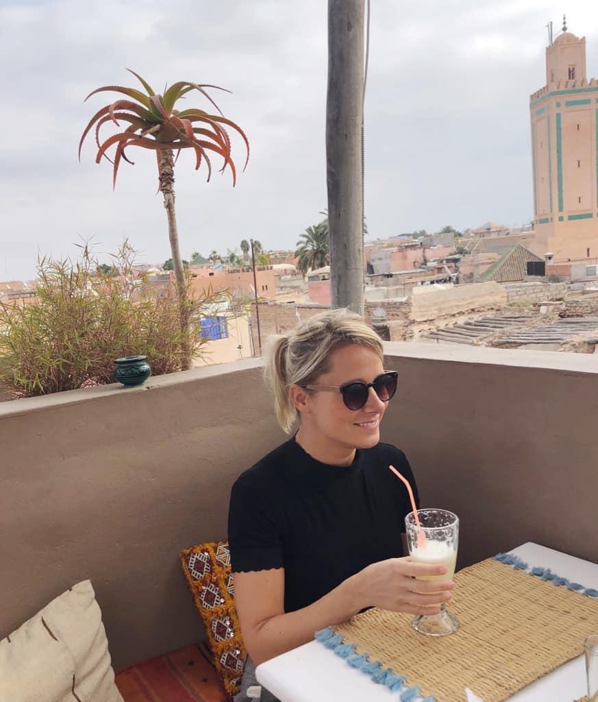 Girl on rooftop terrace in marrakech
