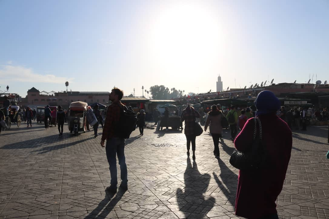 Boy standing on djemaa el fna in marrakech