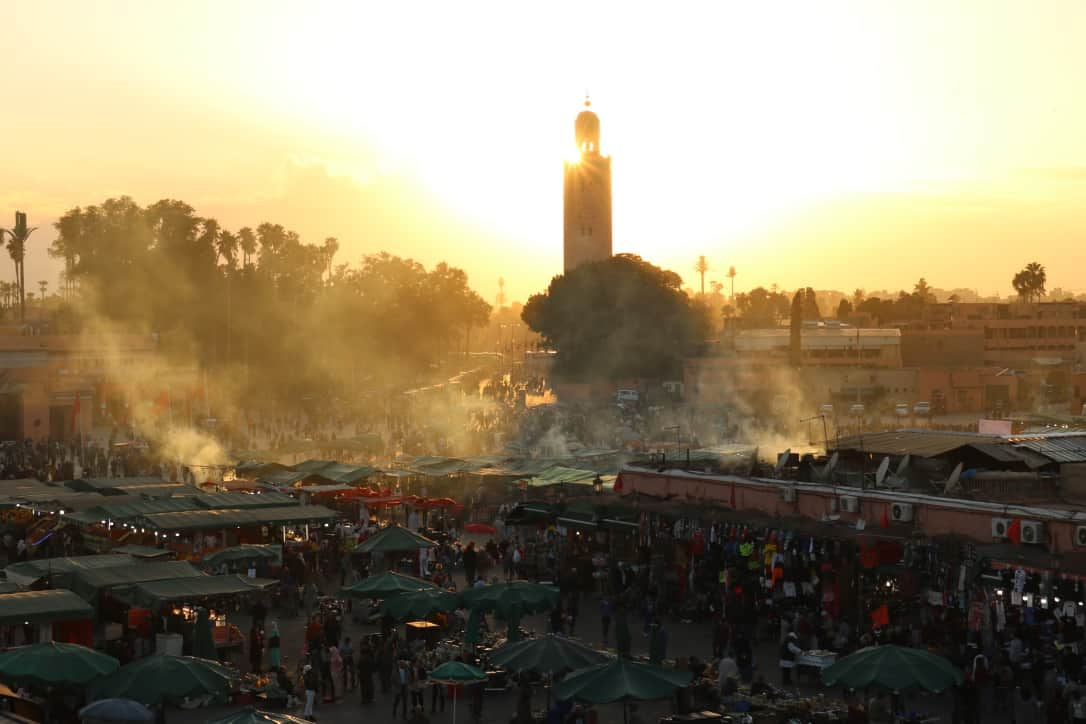 Sunset on djemaa el fna square in marrakech