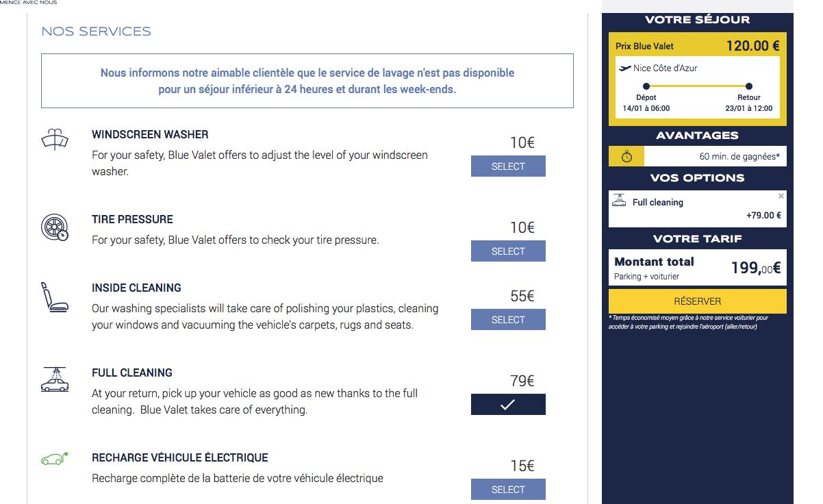 Capture d'écran du site Blue Valet