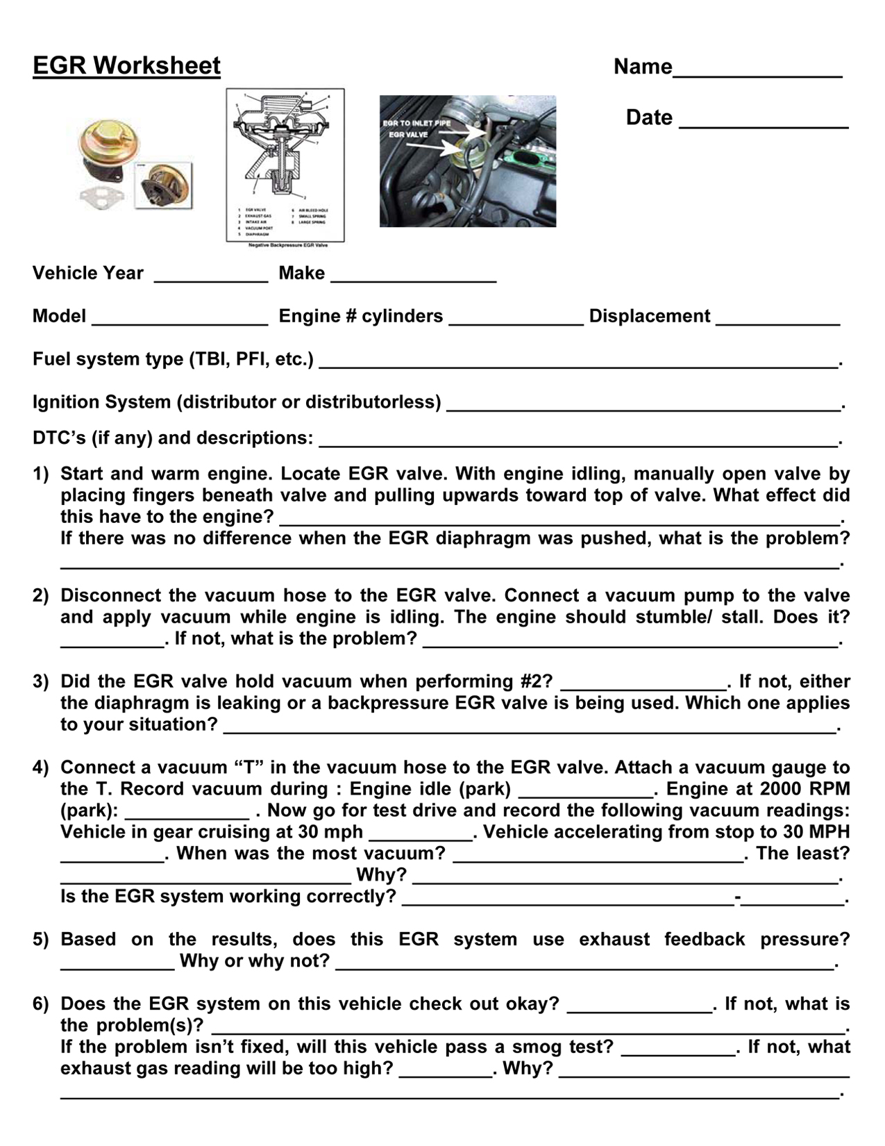 Automotive Steering System Identification Worksheet
