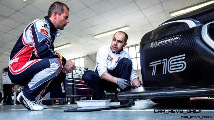 Sebastien Loeb gives his impressions after a test run aboard the 208T16 at the Peugeot test center in La Ferté-Vidame, France, on April 18th, 2013