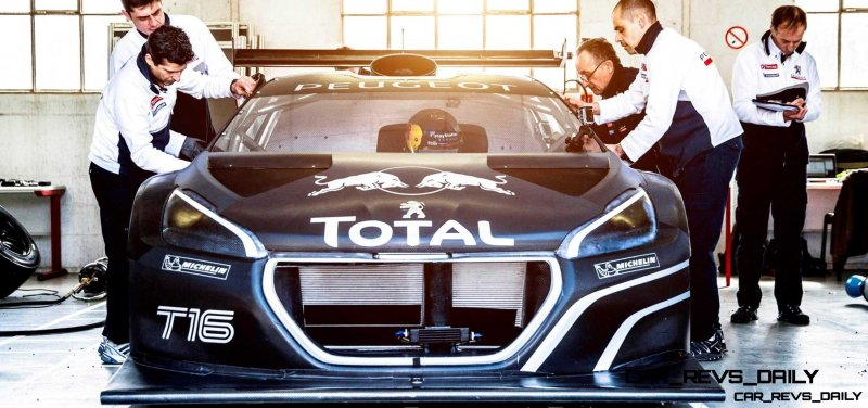 Peugeot engineers and mechanics adjust the 208T16 for the first test track at the Peugeot test center in La Ferté-Vidame, France, on April 18th, 2013