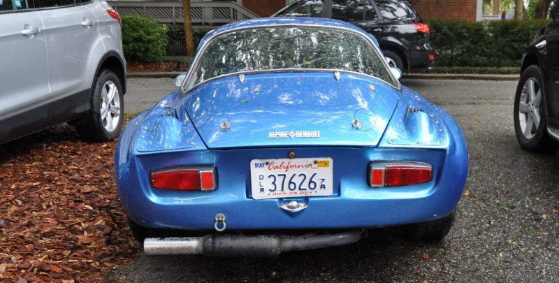 Amelia Parking Lot Finds -- ~1960s (Renault) Alpine A110 -- On Cali Plates, Passenger Seat Full of Suitcases 2