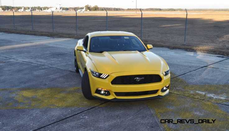 HD Road Test Review - 2015 Ford Mustang EcoBoost in Triple Yellow with Performance Pack 163