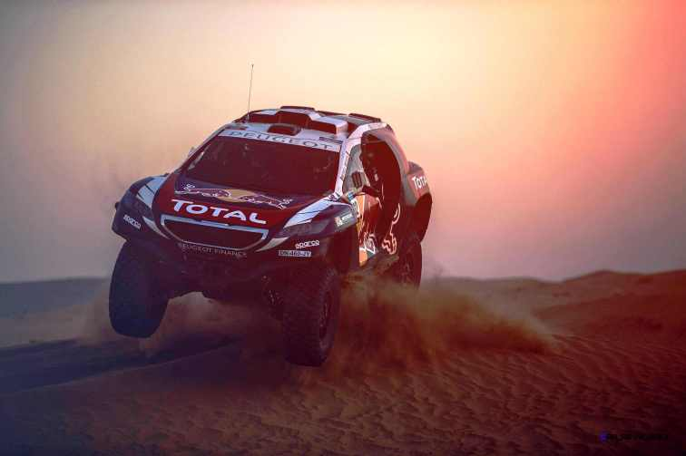 Stephane Peterhansel performs during the Peugeot test in Erfoud, Morocco, on June 15th, 2015