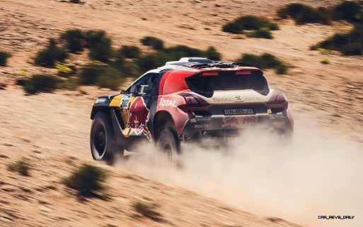 Cyril Despres and David Castera performs during the Peugeot test in Erfoud, Morocco, on June 16th, 2015