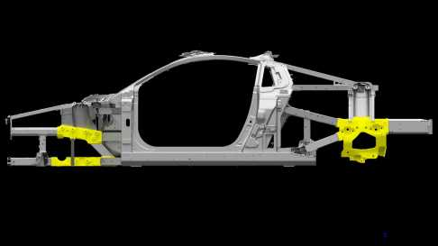 2017 Acura NSX - Space Frame with Ablation Casting Nodes in Yellow.