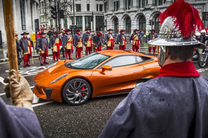 Jaguar Land Rover takes part in the Lord Mayors Show November 14th, 2015, leading with the C-X75 as featured in SPECTRE