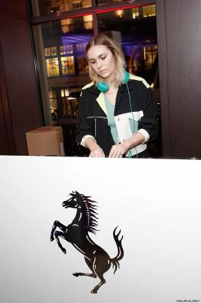 Becky Tong DJing UK launch of the Ferrari 488 Spider at the Watches of Switzerland store London