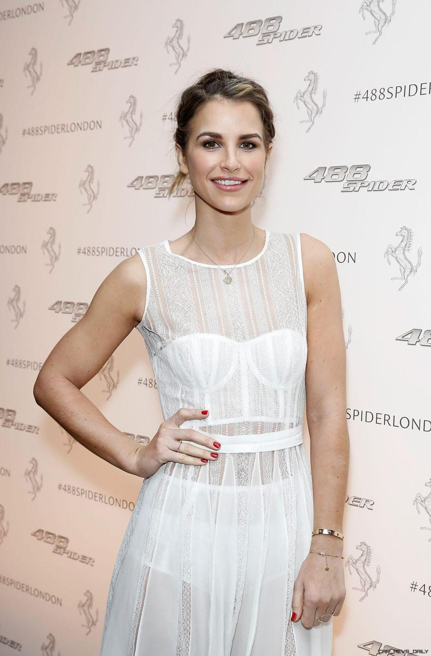 Vogue Williams at the UK launch of the Ferrari 488 Spider at the Watches of Switzerland store London
