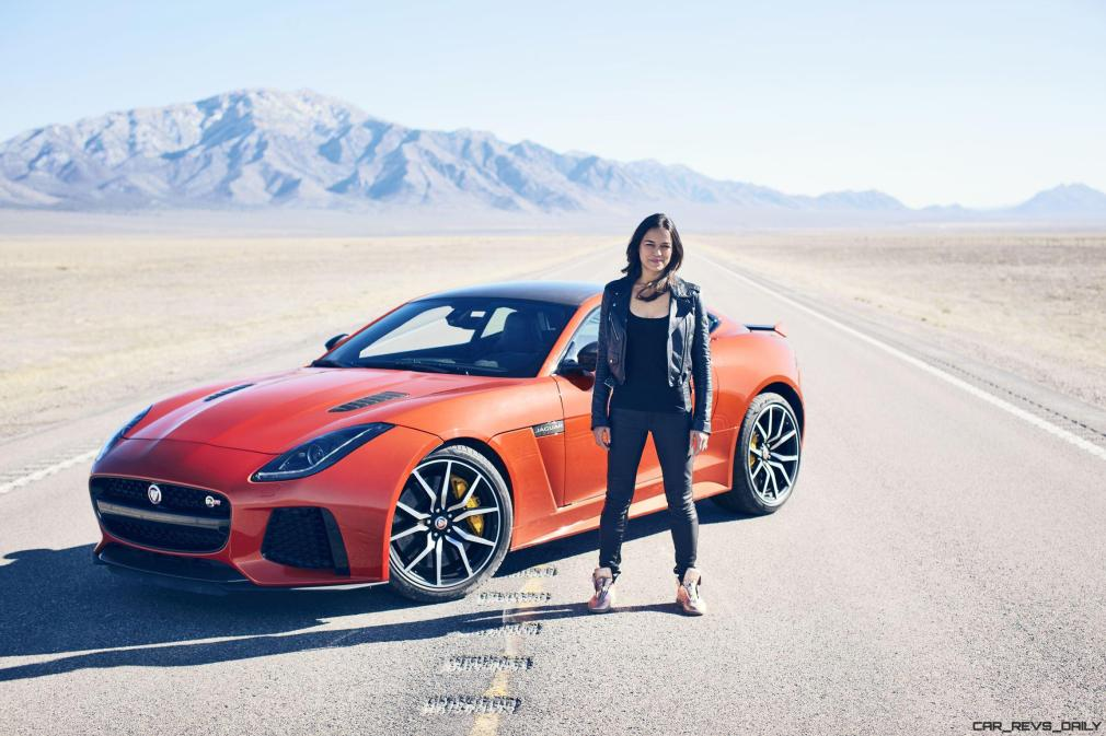 Michelle Rodriguez Roars Past 200MPH in F-Type 1