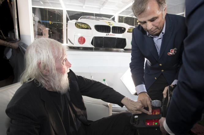 John Baldessari and Ludwig Willisch celebrated the world premiere of the 19th BMW Art Car, created by renowned American artist John Baldessari, at Art Basel in Miami Beach on Wednesday, November 30, 2016.