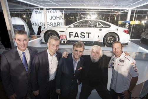 Ed Bennet, CEO, IMSA & EVP, Chief Administrative Officer, NASCAR, Jens Marquardt, Ludwig Willisch, John Baldessari, and BIll Auberlen celebrated the world premiere of the 19th BMW Art Car, created by renowned American artist John Baldessari, at Art Basel in Miami Beach on Wednesday, November 30, 2016.