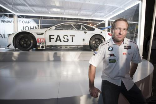 Bill Auberlen celebrated the world premiere of the 19th BMW Art Car, created by renowned American artist John Baldessari, at Art Basel in Miami Beach on Wednesday, November 30, 2016.