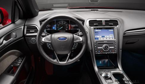 Fusion brings a handsome new interior for 2017, one that includes exceptional materials, a host of technology options, and introduces a new rotary gear shift dial that enhances the spaciousness of the cabin. New technologies give consumers a combination of convenience, entertainment and safety features unique among family sedans.