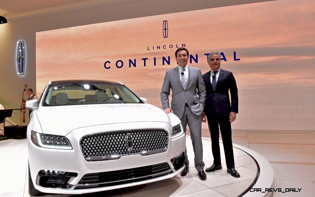 Detroit, January 12, 2016 -- Mark Fields, President, Chief Executive Officer, Ford Motor Company (left) and Kumar Galhotra, Ford Motor Company Vice President and President, Lincoln, with the flagship of the Lincoln brand--the all-new Lincoln Continental at the North American International Auto Show. Beginning this fall, Continental offers first-class travel for clients in America and China, bringing warm, human touches and a contemporary design.