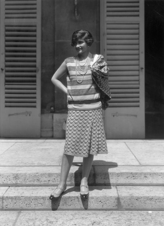 French couturier Gabrielle 'Coco' Chanel (1883 - 1971) at her home, Fauborg, St Honore, Paris.   (Photo by Sasha/Getty Images)