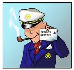 Il comandante di una barca mostra la patente nautica.