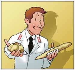 Un carabiniere dei N.A.S. controlla la genuinità e l'igiene del pane prodotto.