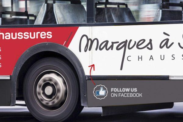 Marques à Suivre - Bus - Affichage - Caractère Advertising - Campagne d'affichage - Chaussures Hommes Dames & Enfants - MàS