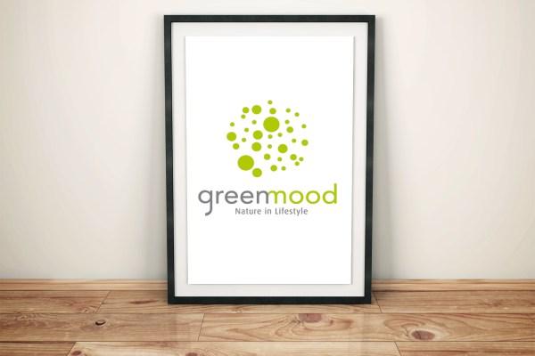 Green Mood - Logo - New logo - identité visuelle - charte graphique - lifestyle - plantes stabilisées - lichen - tableaux végétaux - logo végétal - Sadig Alekperov - Caractère Advertising - Mock Up Logo