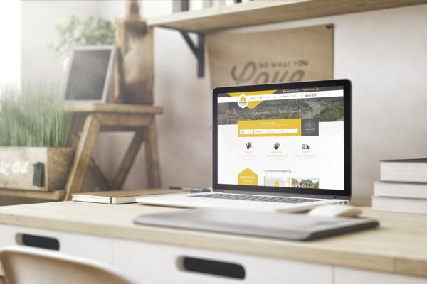 La ruche immobilière - Immobilière - Hainaut - Charleoir - Agence agréée - Site web - Identité visuelle - Plateforme - Trouvez votre bien immobilier en 2 clics - Caractère Advertising - Mock Up Site Web - Responsive Design