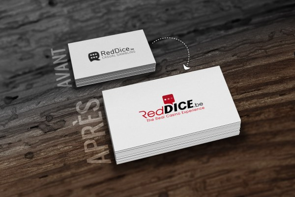 RedDice - Gambling - Reddice.be - The real casino experience - Casino en ligne - casino - site de jeu en ligne - plateforme - éthique - jouer responsable - communication - marketing - Caractère Advertising - Mock-Up - Carte de visite - Logo Avant/après - Logo RedDice