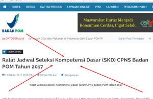 Pengumuman Hasil Tes SKD CPNS Bpom 2018