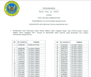 Pengumuman Nama Hasil Seleksi Administrasi CPNS Badan Intelijen Negara BIN 2017
