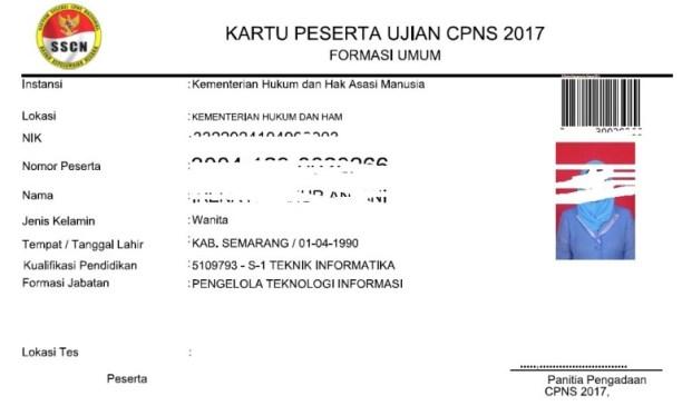Cara Mencetak Kartu Peserta Ujian CPNS 2017 Periode 2