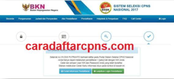 mencetak Kartu Informasi Akun pendaftaran