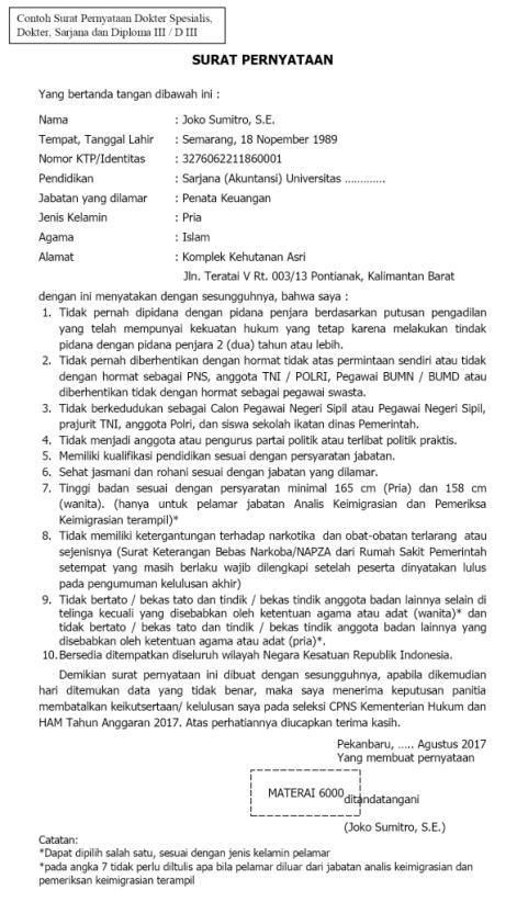 Silahkan Unduh Format Surat Pernyataan S1 D3