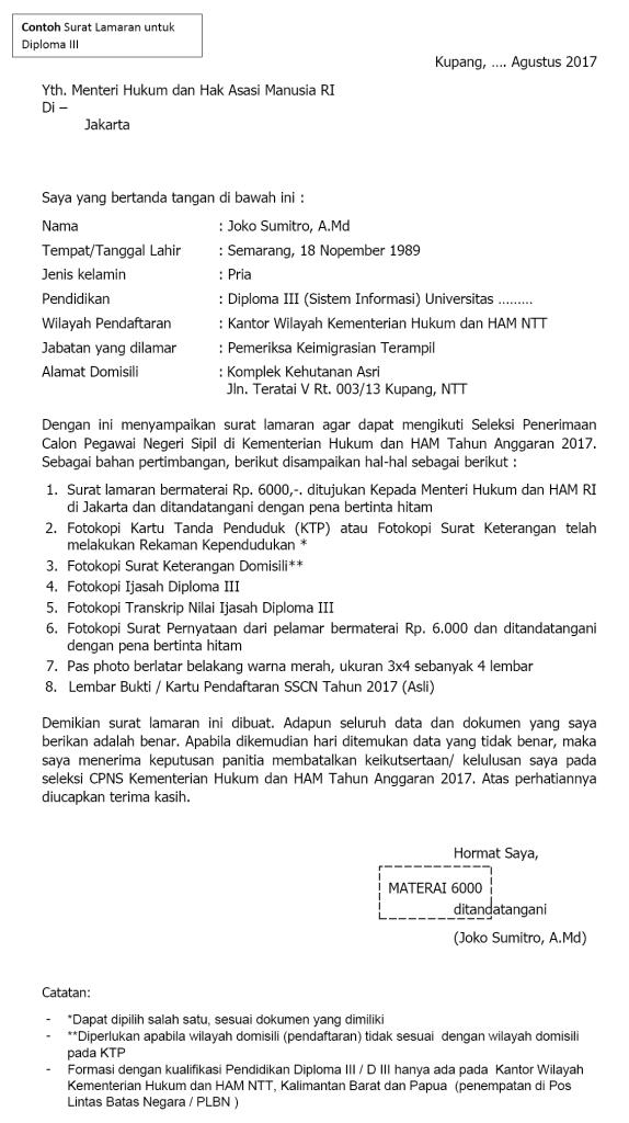 contoh surat lamaran cpns 2018 surat pernyataan cpns