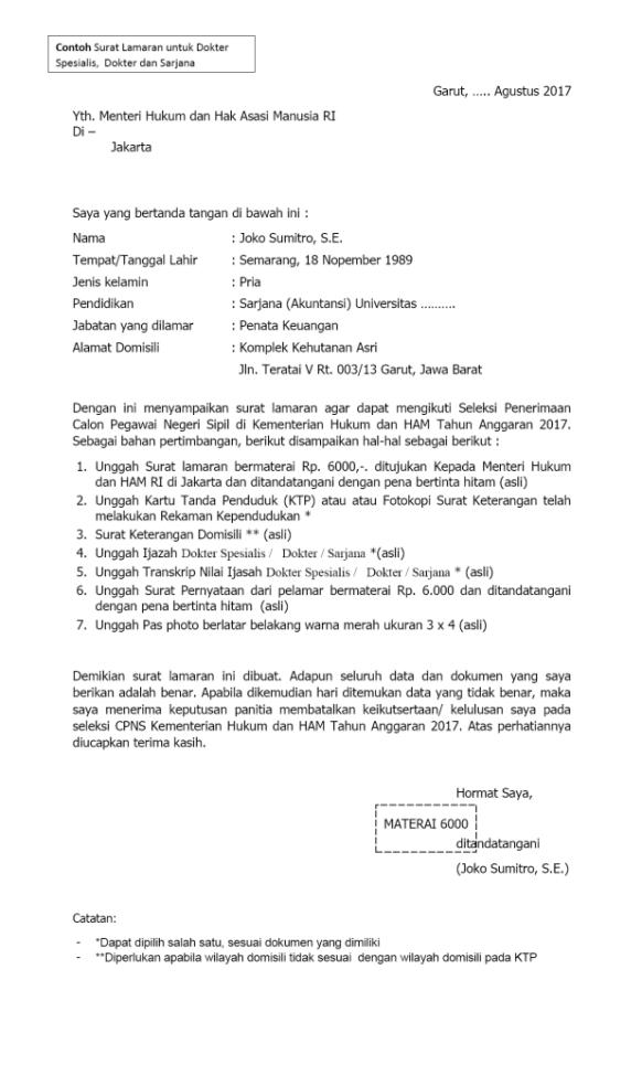 Contoh Surat Lamaran Cpns 2019 Kemenristekdikti Bagi Contoh Surat