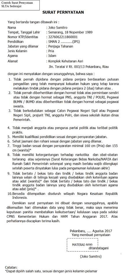 Contoh Surat Pernyataan CPNS 2018 | Download Format Surat