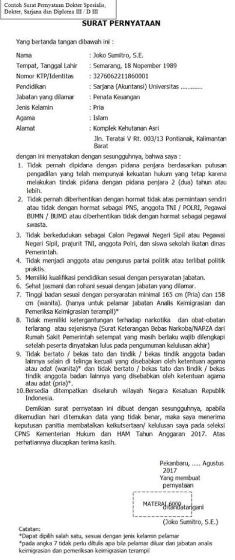 Contoh Surat Pernyataan CPNS 2018