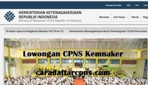 Pengumuman Pendaftaran CPNS Kemnaker 2018 Lulusan SMA SMK D3 S1