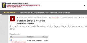 Contoh Surat Lamaran dan Pernyataan CPNS Kemenkumham 2018