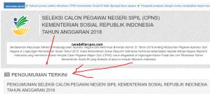 Pengumuman Hasil Tes Kompetensi Dasar SKD CPNS Kemensos 2018