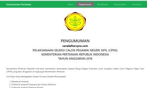 Hasil Akhir Seleksi CPNS Kementan 2018
