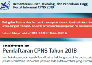 Pengumuman Hasil Tes SKD CPNS Kemenristekdikti 2018