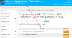 Pengumuman Hasil Tes SKD CPNS Kabupaten Tegal 2018