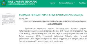 Pengumuman Hasil Tes SKD CPNS Kabupaten Sidoarjo 2018