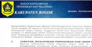 Hasil Akhir Seleksi CPNS Kabupaten Bogor 2018
